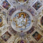 The colourfully painted ceiling of a church in Palermo