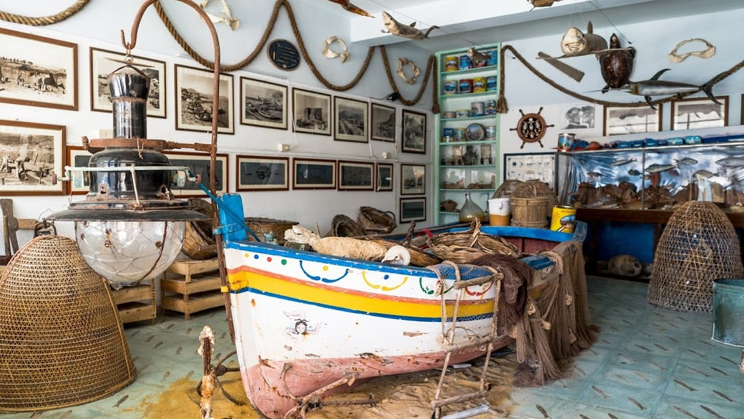 The Anchovy Museum is decorated with fishing paraphernalia