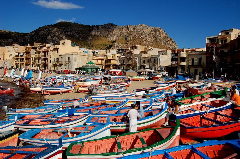 The fishing village of Aspra in Sicily