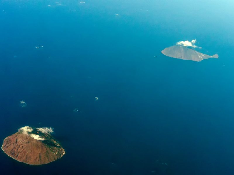 eolie island aerial view panorama from airplane