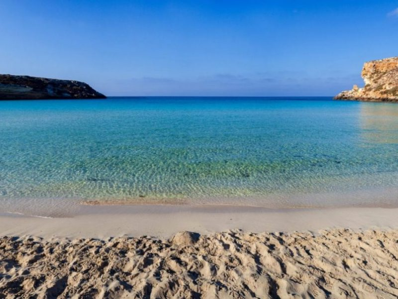 Beach in Lampedusa in Sicily