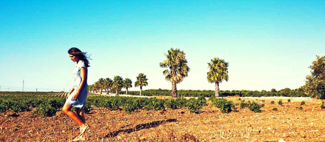 Girl in a Marsala vineyard