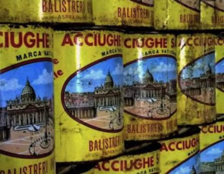 Colourful tins of salted anchovies in the Anchovy Museum